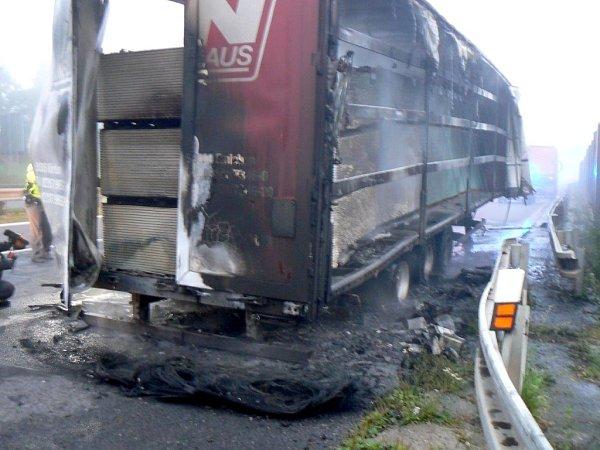 Hasiči likvidovali požár návěsu nákladního auta