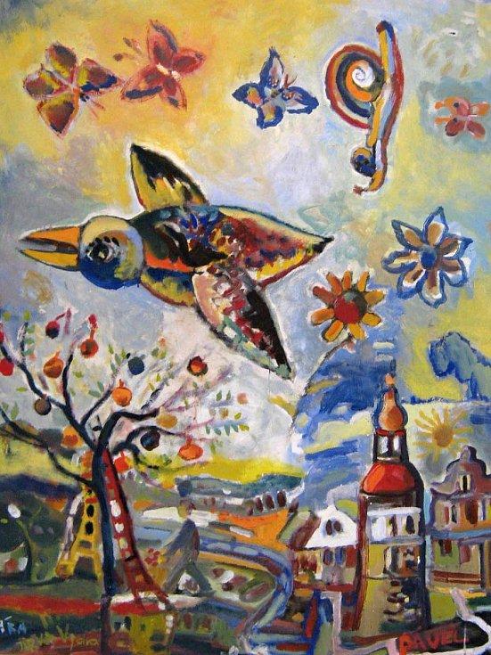 Plátno od výtvarníka Jiřího Vydry vytvořené s dětmi na onkologickém oddělení v pražském Motole.
