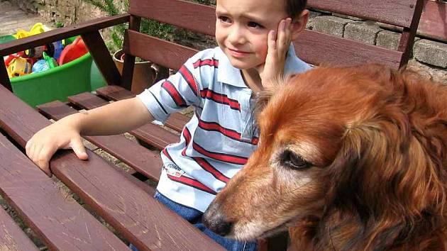 Vojtík Církva se o prázdninách o svého psího kamaráda bát nemusí, stará se o něj babička.