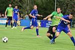 Cábelíci (v modrém) ve velmi dobrém utkání porazili Štěchovice.