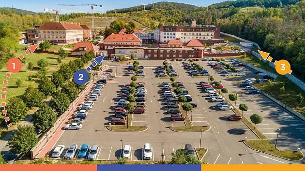 Plán dopravních úprav v areálu Rehabilitační nemocnice Beroun.