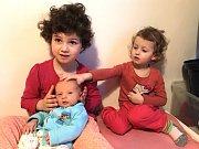 LÁDÍK Besser se narodil 18. března 2017 v hořovické porodnici U Sluneční brány. Měsíční Ládík je na fotografii se svými sestřičkami, Baruškou a Gábinkou. Foto: Rodina