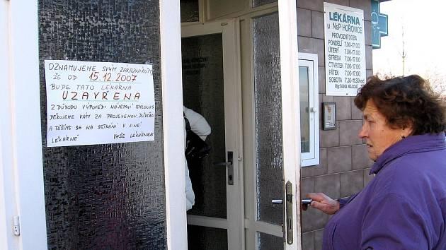 Lékárna u Nemocnice Hořovice bude od soboty 15. prosince uzavřena. Její zákazníci byli se službami spokojeni