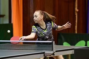 Snímek z utkání stolního tenisu žen mezi Královým Dvorem a El Niněm Praha.