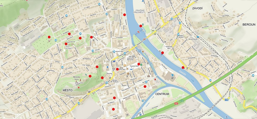 Mapa Berouna s místy, kde jsou zásobníky se sáčky na psí exkrementy nainstalované.