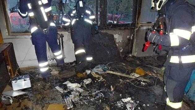 Požár v berounském bytě.