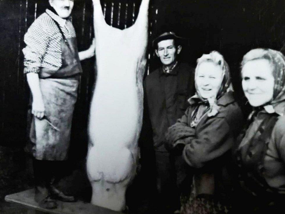 Zabijačka v Loděnici v 70. letech 20. století.