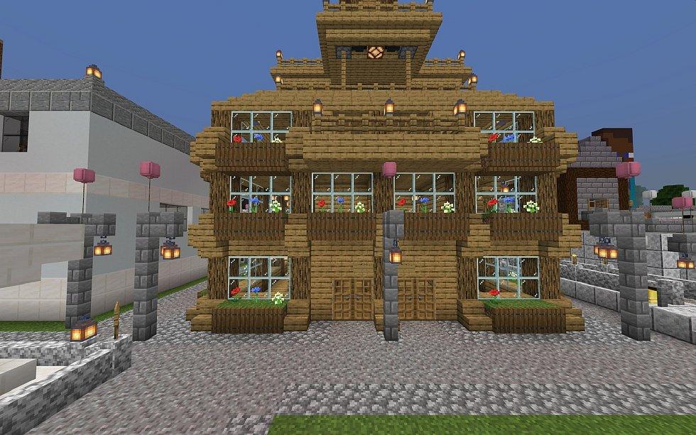 Město na školním serveru budované žáky ZŠ Králův Dvůr, radnice, kterou postavil Matěj Velich.