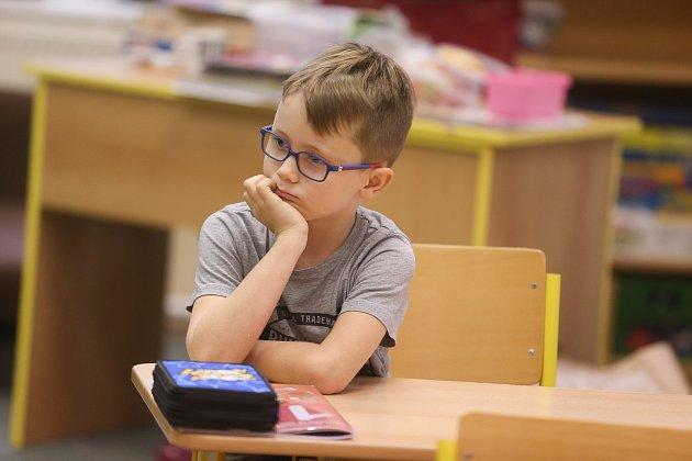 Prvňáček ze Základní školy vHudlicích ve školním roce 2019/2020.