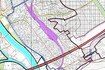 Část nově  připravovaného územního plánu Beroun s diskutovanou silnicí na Závodí.