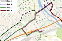 Mapa nových tras MHD v Berouně platné od 13. prosince 2015