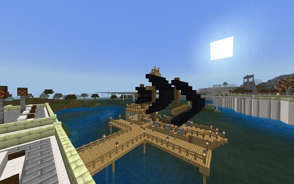 Přístav s lodí - stavěl Matěj Velich.