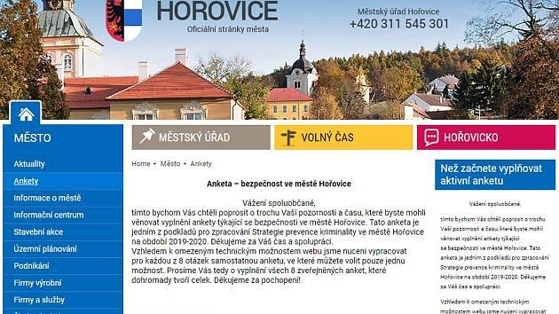 Webová anketa - bezpečnost ve městě Hořovice.