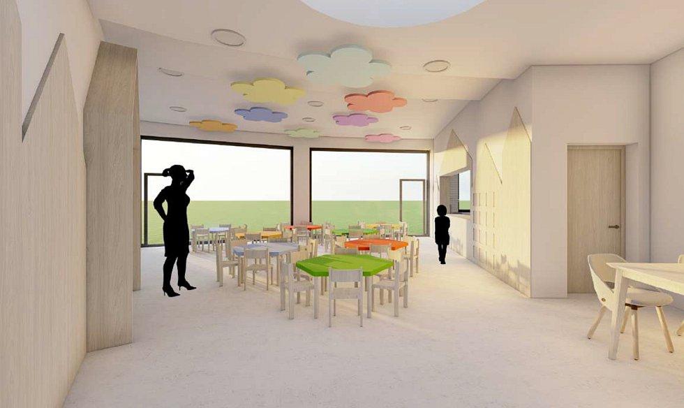 Vizualizace interiéru školky.