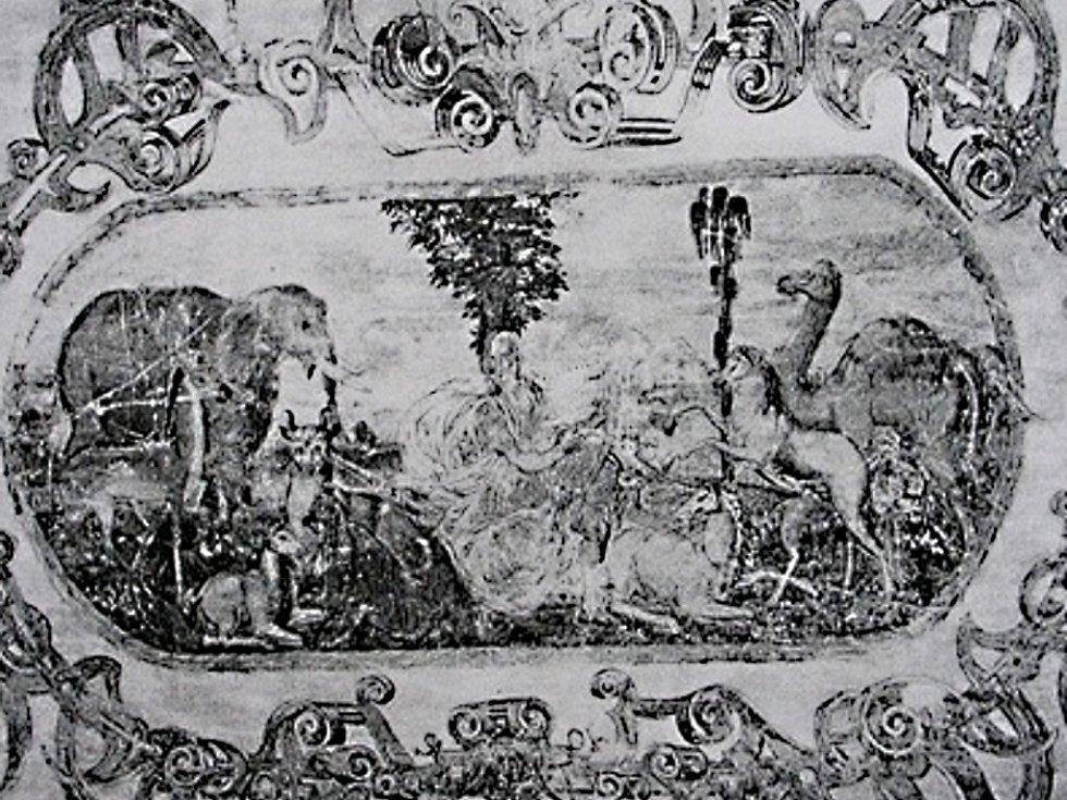 Freska na zámku v Králově Dvoře.