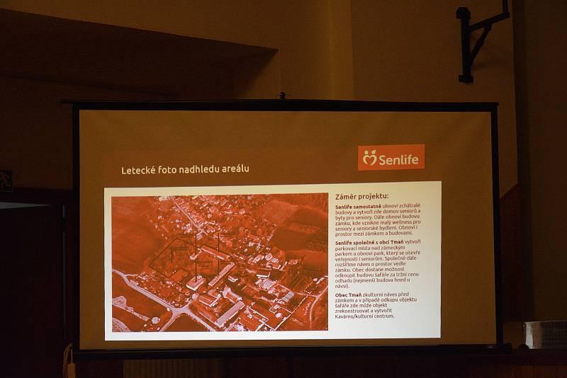 Z prezentace rekonstrukce zchátralého zámku v Tmani na moderní domov pro seniory Senlife.