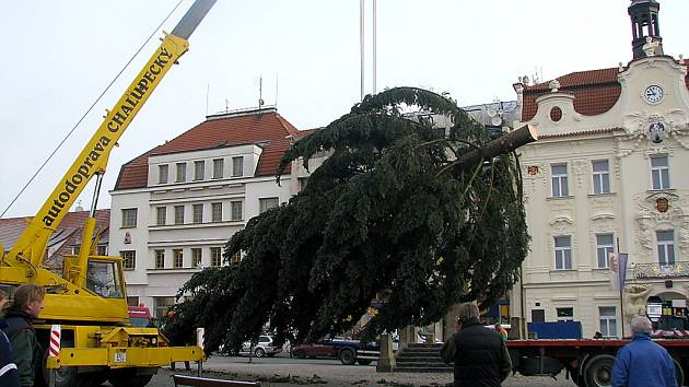 Vánoční strom instalovali na náměstí více  než dvě hodiny
