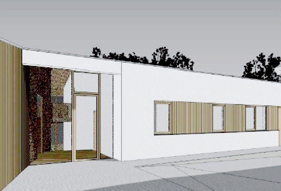 Vizualizace nového pavilonu Mateřské školy na Preislerově náměstí v Počaplech.