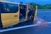 Dopravní nehoda na dálnici D5 na Praze-západ.