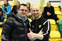 Předseda T.B.C. Králův Dvůr Milan Karšňák a nový trenér A týmu Radek Križko.