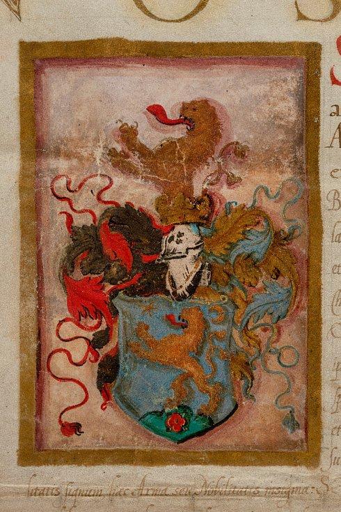 Erbovní privilegium přesně neurčené osoby (soukromá sbírka vČR), detail erbu. Foto: Stanislav Vaněk