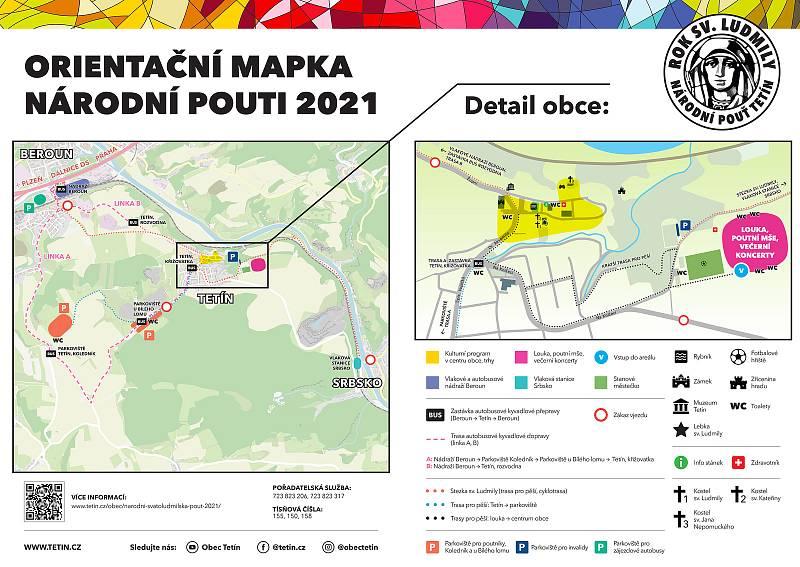 Orientační mapka Národní pouti v Tetíně.