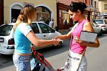 Lenka Šmaková, předsedkyně sdružení, prodávala dřevěná kolečka na pomoc dětem.