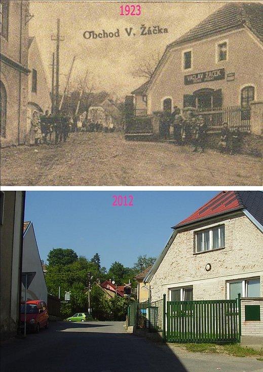 Obchod pana Václava Žáčka blízko železniční trati. Dnes obytné stavení.