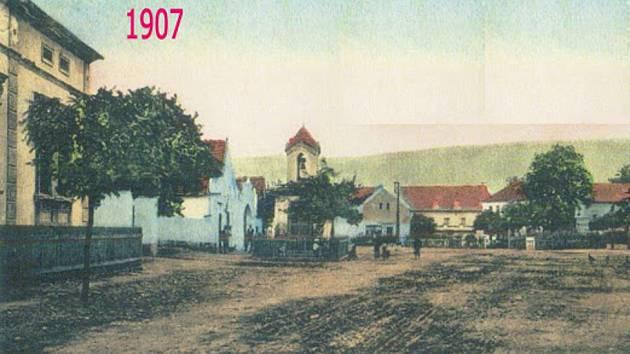 Zadní Třebáň, náměstí.