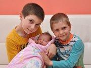 Kristýna Večeřová, Strakonice, 28.3. 2017 ve 13.32 hodin, 3690 g. Malá Kristýna má sourozence Davida (9) a Jakuba (5).