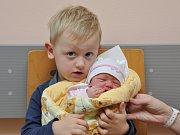Elena Cheníčková, Vrbno, 15. 11., v 17.21 hodin, 2920 g. Tříletý Vašík má malou sestřičku.