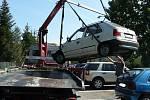 Likvidace autovraků ve Strakonicích.