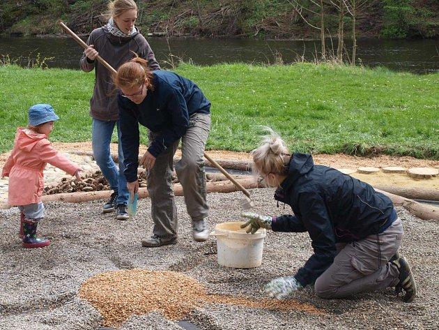Pocitový chodníček pro děti celou sobotu budovali dobrovolníci pod hlavičkou Rodinného centra Beruška na strakonickém Podskalí.