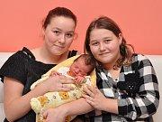 Abigail Kodýdková, Droužetice, 13.1. 2018, v 8.49 hodin, 3520 g. Izabela (16) a Adélka (9) mají malou sestřičku.