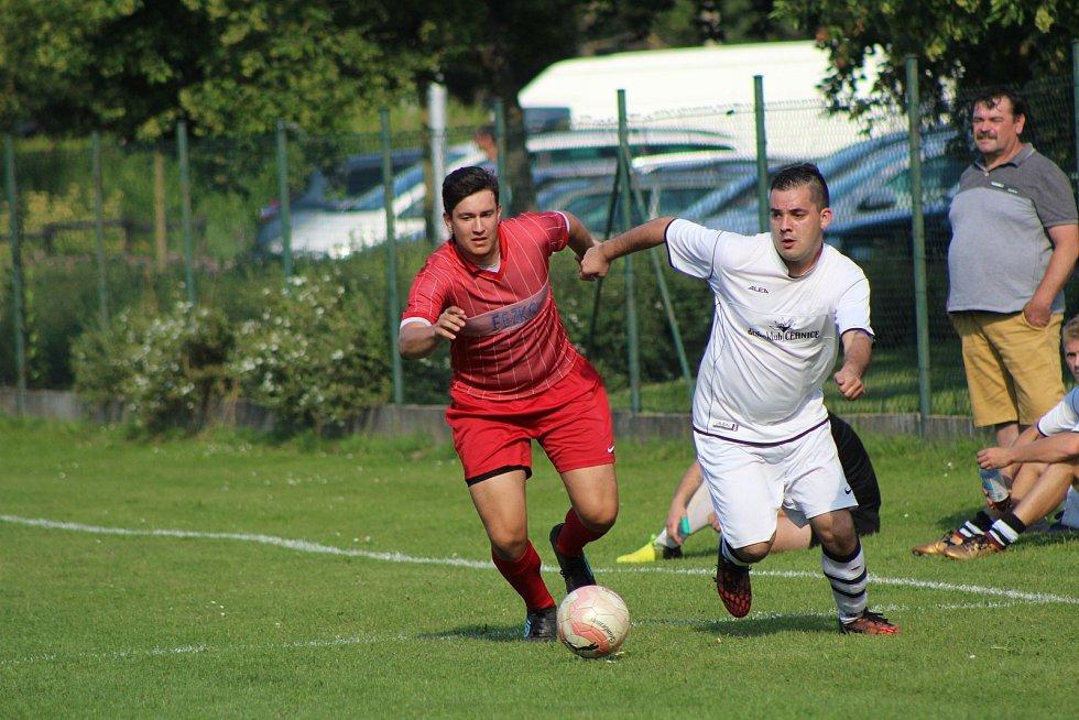 Hokejisté HC Strakonice (červené dresy) si na závěr letní přípravy zahráli fotbálek proti Sokolu Cehnice (1:5).