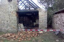 Požár stodoly v Zahorčicích