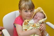 Emílie Tušlová, Zdíkov, 17.6. 2016 v 18.50 hodin, 2850 g. Tříletá Štěpánka má malou sestřičku.
