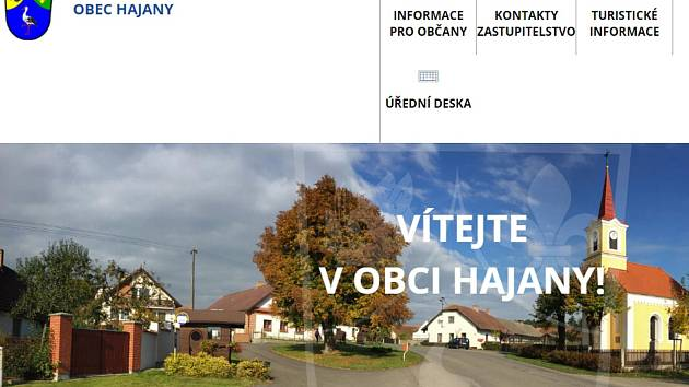Webové stránky obce Hajany. Reprofoto