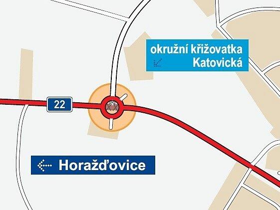 Místo, kde má kruhová křižovatka vzniknout. Je to tam, kde do Katovické ústí čtyřproudá silnice od Jezárek.