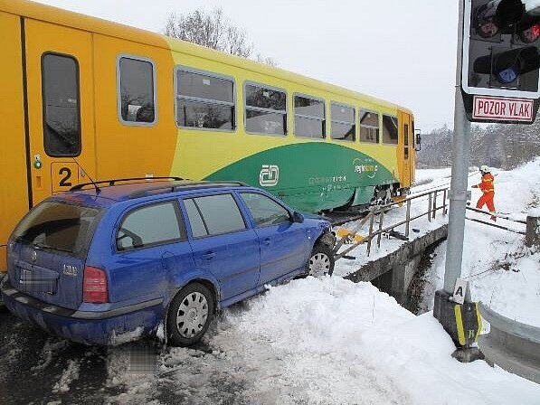 Střet osobního automobilu s osobním vlakem.