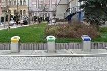 Podzemní kontejnery ve Strakonicích na rohu ulic U Sv. Markéty a Kochana z Prachové.