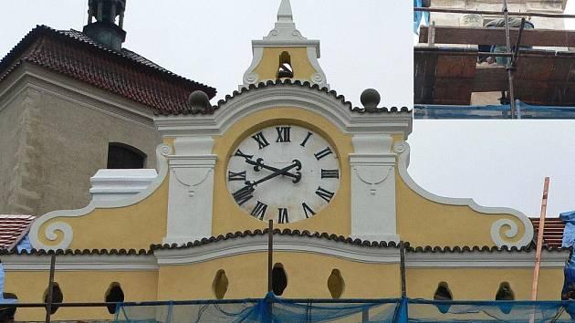Na budově zámku budou dvoje hodiny. Jedny na přední straně a druhé směrem ke kostelu sv. Prokopa (výřez). Ciferník bude mít původní barvy – zlaté číslice na tmavém podkladě.