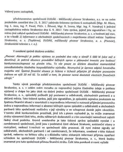Dopis od předsedy představenstva Rudolfa Oberfalcera.