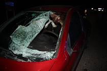 Odražená srna od auta, se kterým se srazila, spadla na protijedoucí auto, prorazila sklo a poranila řidiče v obličeji.