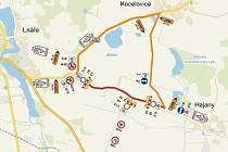 Na mapce je vyznačená úplná uzavírka mezi Lnářemi a Hajany (červeně), která potrvá do 14. června. Objízdná trasa povede přes Kocelovice (oranžově).