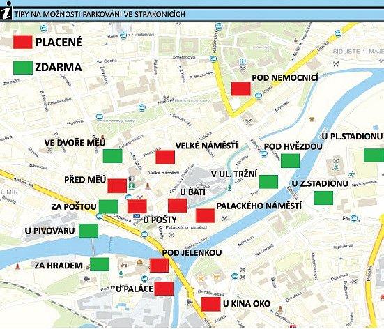 Mapa parkování Strakonice.