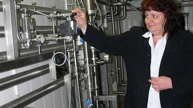 Dagmar Vlková ve strakonickém pivovaru.