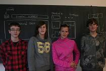 Žáci 9. M Základní školy Dukelská Strakonice Tomáš Vršecký (14), Lenka Vaněčková (15), Kateřina Sosnová (15) a Jan Všední (15).