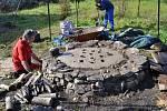 Výpal středověké keramiky ve Volyni.