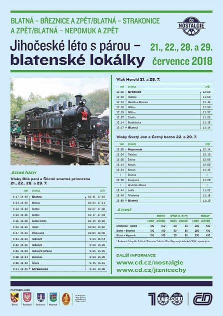 Rozpis jízd vlaků Jihočeské léto s párou.